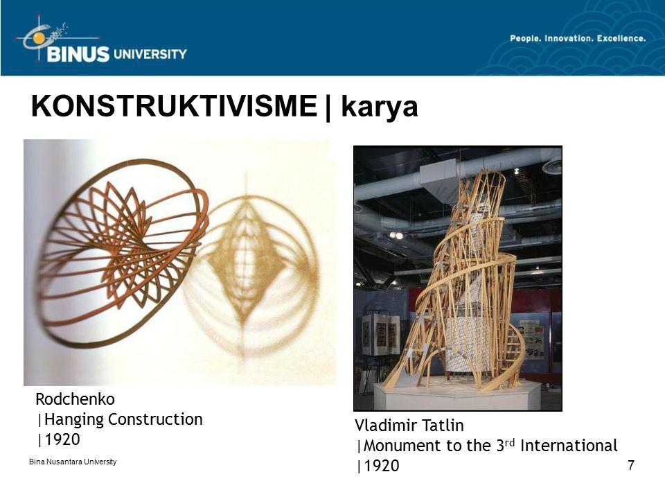 Bina Nusantara University 7 KONSTRUKTIVISME | karya Rodchenko |Hanging Construction |1920 Vladimir Tatlin |Monument to the 3 rd International |1920