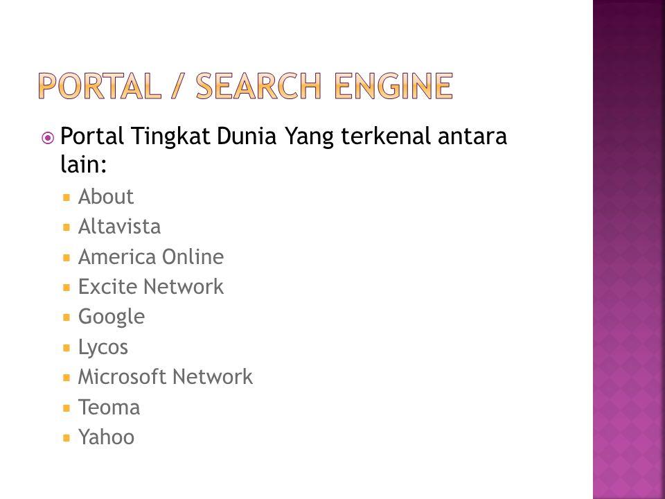  Portal Tingkat Dunia Yang terkenal antara lain:  About  Altavista  America Online  Excite Network  Google  Lycos  Microsoft Network  Teoma 