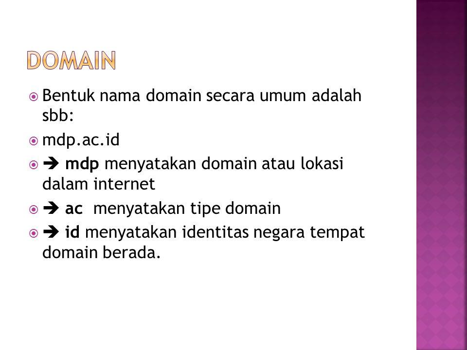  Bentuk nama domain secara umum adalah sbb:  mdp.ac.id   mdp menyatakan domain atau lokasi dalam internet   ac menyatakan tipe domain   id men