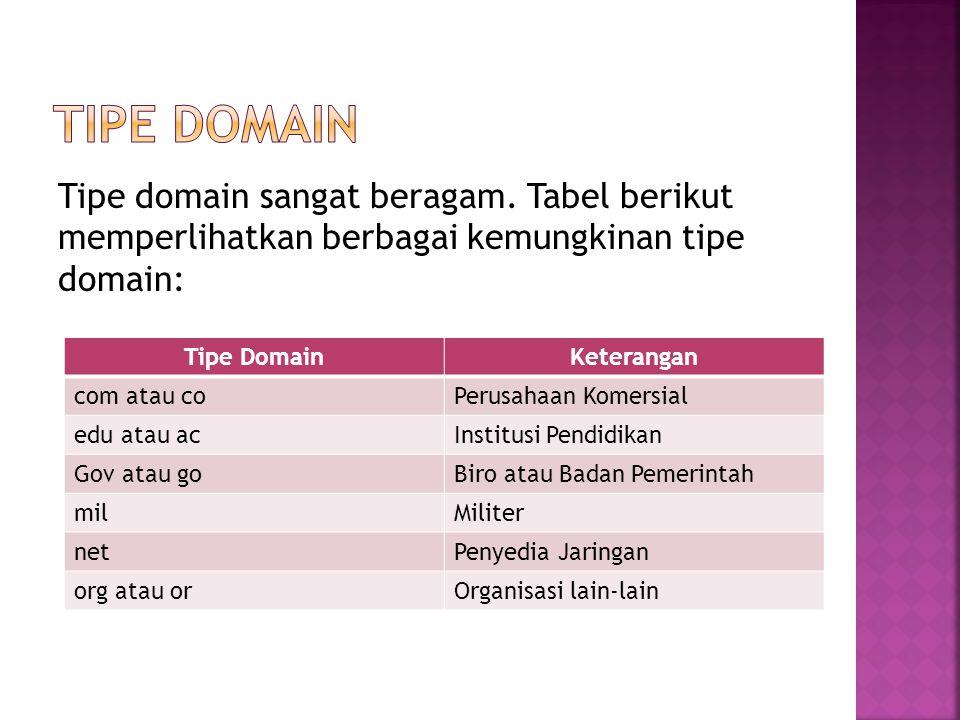 Tipe DomainKeterangan com atau coPerusahaan Komersial edu atau acInstitusi Pendidikan Gov atau goBiro atau Badan Pemerintah milMiliter netPenyedia Jar