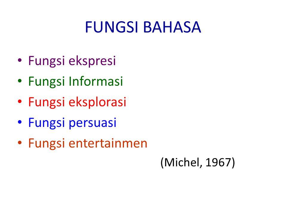 FUNGSI BAHASA Fungsi ekspresi Fungsi Informasi Fungsi eksplorasi Fungsi persuasi Fungsi entertainmen (Michel, 1967)