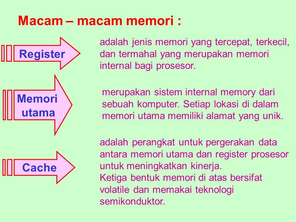 Macam – macam memori : Cache adalah perangkat untuk pergerakan data antara memori utama dan register prosesor untuk meningkatkan kinerja. Ketiga bentu