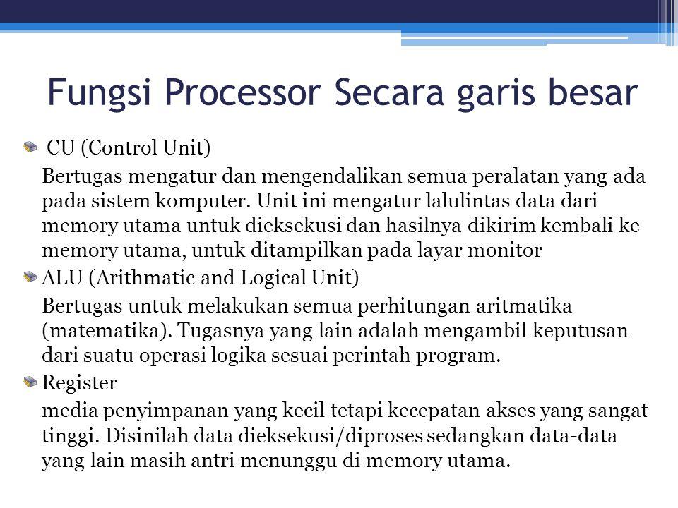 Fungsi Processor Secara garis besar CU (Control Unit) Bertugas mengatur dan mengendalikan semua peralatan yang ada pada sistem komputer. Unit ini meng