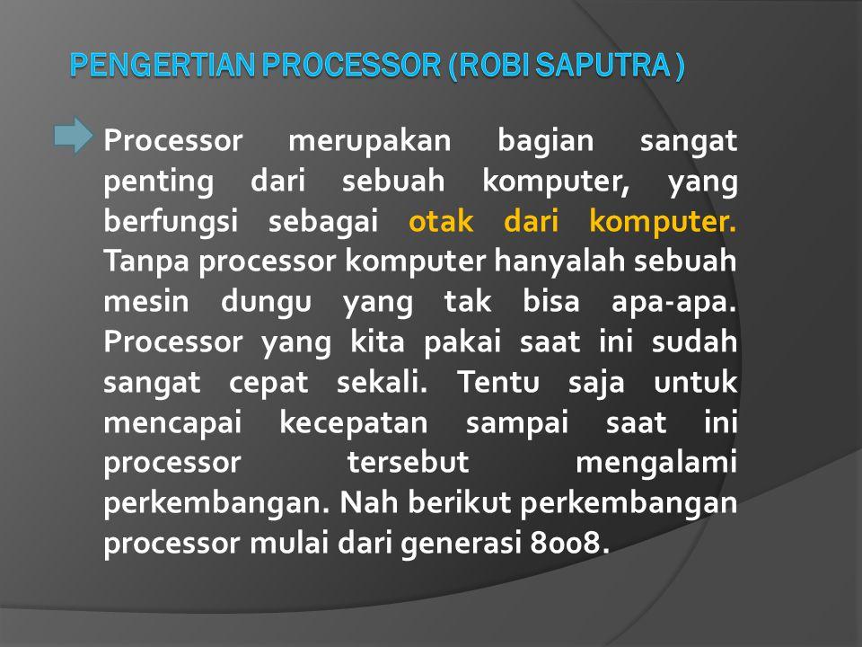 Processor merupakan bagian sangat penting dari sebuah komputer, yang berfungsi sebagai otak dari komputer. Tanpa processor komputer hanyalah sebuah me