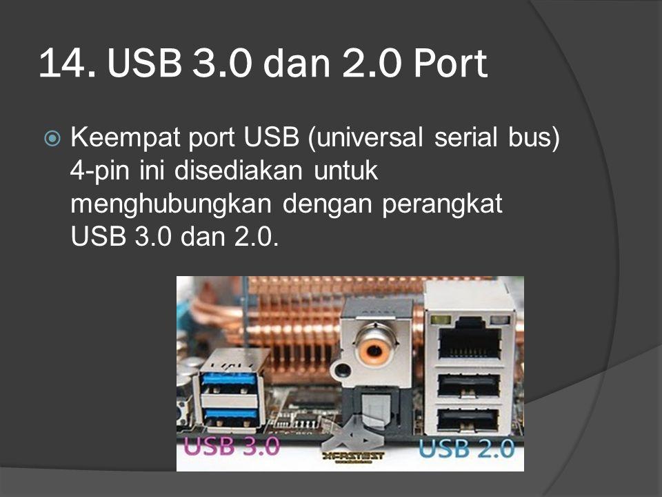 14. USB 3.0 dan 2.0 Port  Keempat port USB (universal serial bus) 4-pin ini disediakan untuk menghubungkan dengan perangkat USB 3.0 dan 2.0.