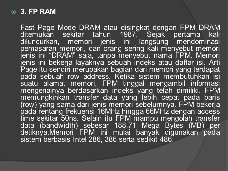  3. FP RAM Fast Page Mode DRAM atau disingkat dengan FPM DRAM ditemukan sekitar tahun 1987. Sejak pertama kali diluncurkan, memori jenis ini langsung
