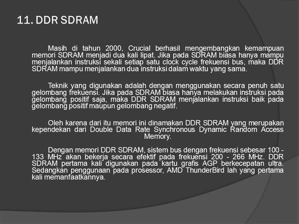 11. DDR SDRAM Masih di tahun 2000, Crucial berhasil mengembangkan kemampuan memori SDRAM menjadi dua kali lipat. Jika pada SDRAM biasa hanya mampu men