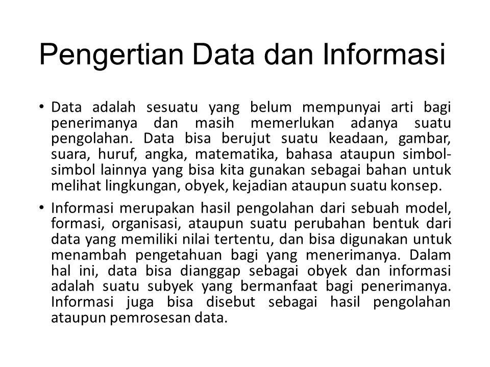 Pengertian Data dan Informasi Data adalah sesuatu yang belum mempunyai arti bagi penerimanya dan masih memerlukan adanya suatu pengolahan. Data bisa b