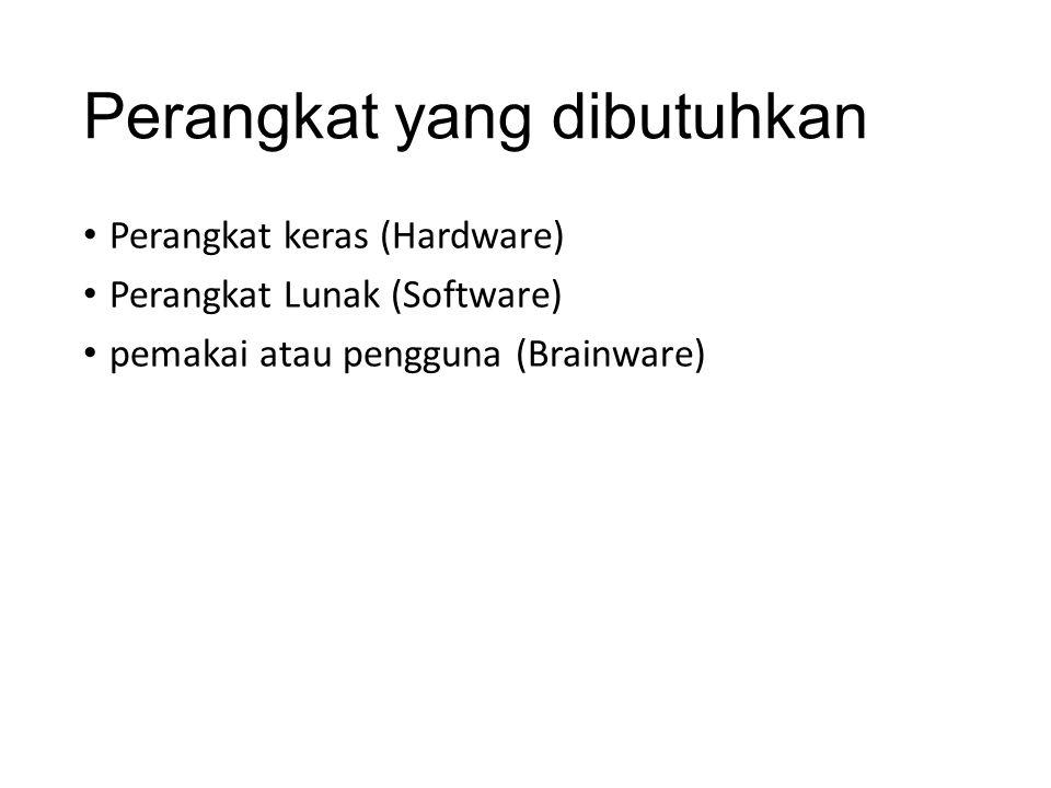 Perangkat yang dibutuhkan Perangkat keras (Hardware) Perangkat Lunak (Software) pemakai atau pengguna (Brainware)