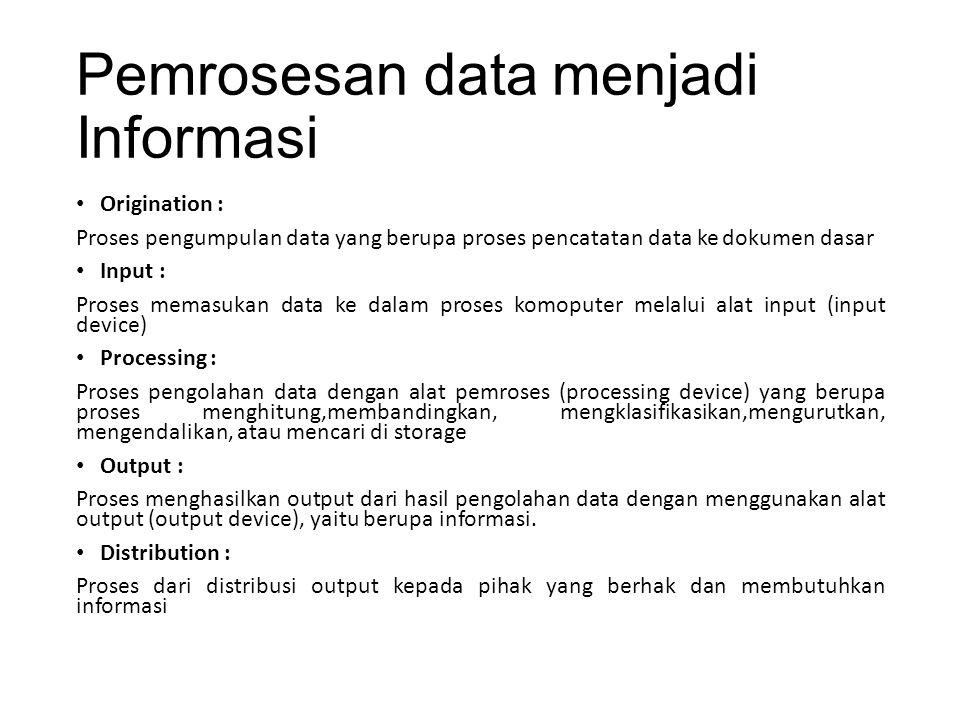 Pemrosesan data menjadi Informasi Origination : Proses pengumpulan data yang berupa proses pencatatan data ke dokumen dasar Input : Proses memasukan d