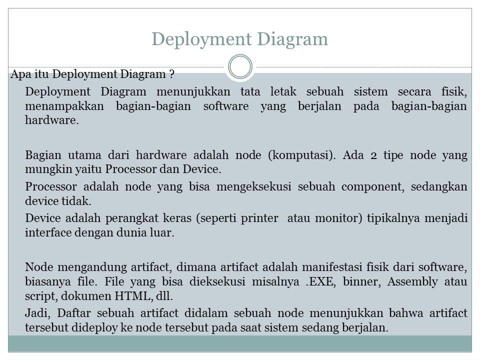 Deployment Diagram Apa itu Deployment Diagram ? Deployment Diagram menunjukkan tata letak sebuah sistem secara fisik, menampakkan bagian-bagian softwa