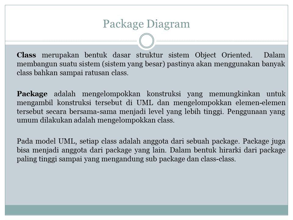 Package Diagram Class merupakan bentuk dasar struktur sistem Object Oriented. Dalam membangun suatu sistem (sistem yang besar) pastinya akan menggunak