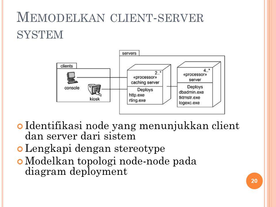 M EMODELKAN CLIENT - SERVER SYSTEM Identifikasi node yang menunjukkan client dan server dari sistem Lengkapi dengan stereotype Modelkan topologi node-node pada diagram deployment 20