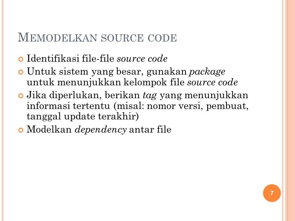 M EMODELKAN SOURCE CODE Identifikasi file-file source code Untuk sistem yang besar, gunakan package untuk menunjukkan kelompok file source code Jika diperlukan, berikan tag yang menunjukkan informasi tertentu (misal: nomor versi, pembuat, tanggal update terakhir) Modelkan dependency antar file 7
