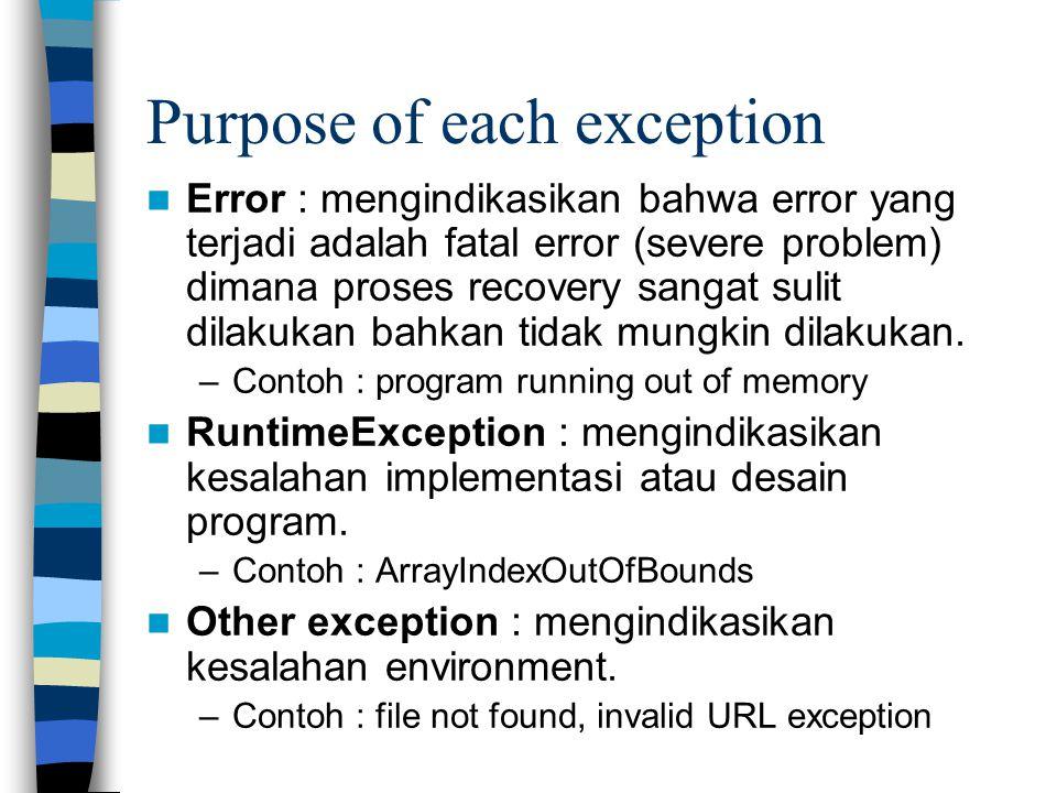 Purpose of each exception Error : mengindikasikan bahwa error yang terjadi adalah fatal error (severe problem) dimana proses recovery sangat sulit dil