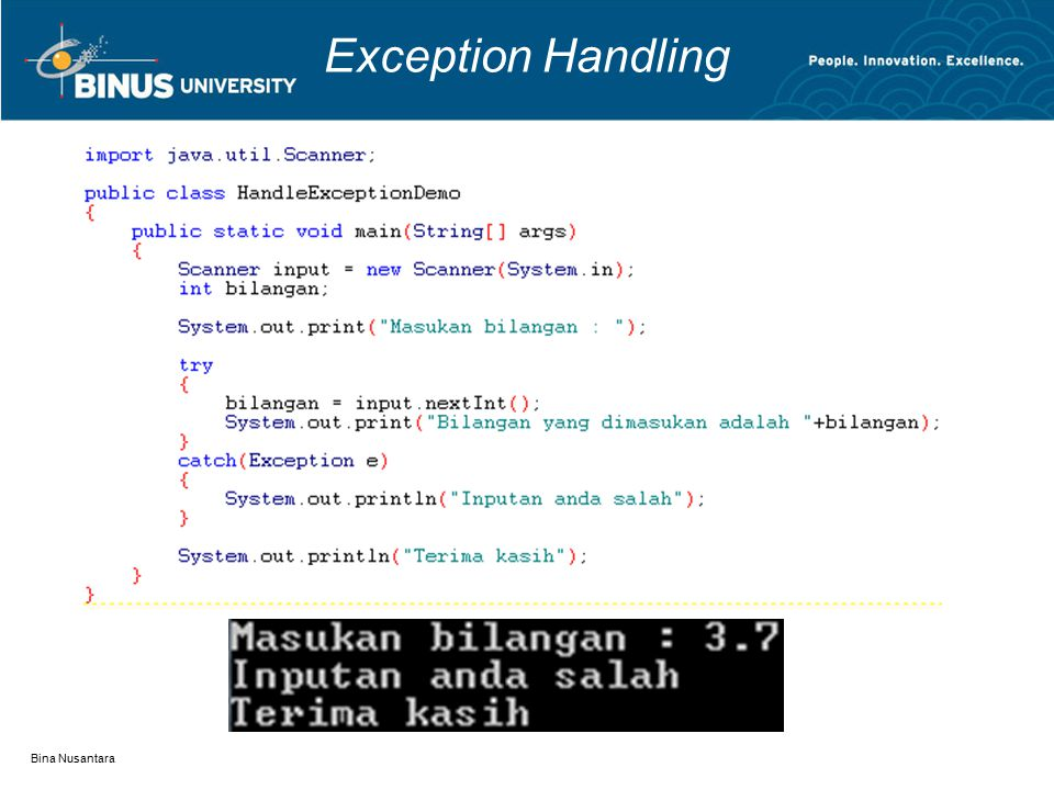 Bina Nusantara Exception Handling
