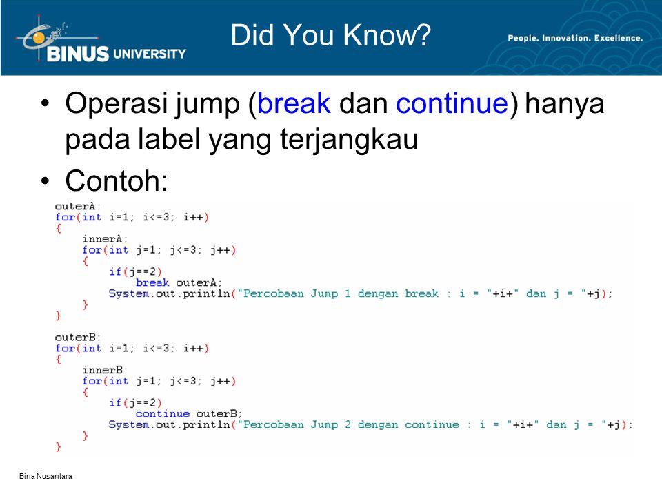 Bina Nusantara Did You Know? Operasi jump (break dan continue) hanya pada label yang terjangkau Contoh: