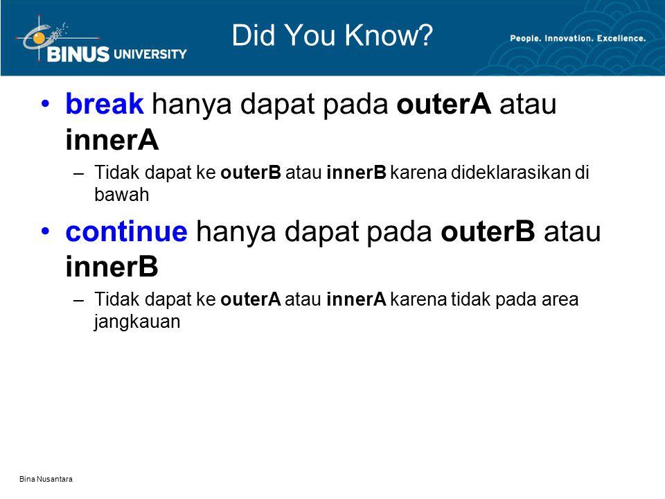 Bina Nusantara Did You Know? break hanya dapat pada outerA atau innerA –Tidak dapat ke outerB atau innerB karena dideklarasikan di bawah continue hany