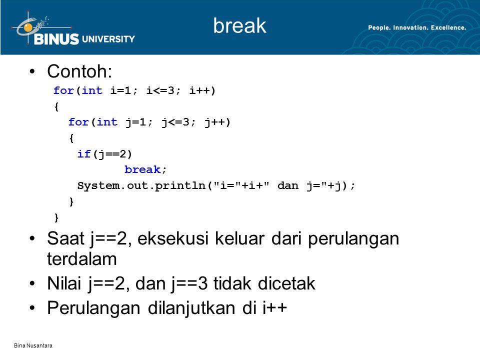 Bina Nusantara break, continue, dan label