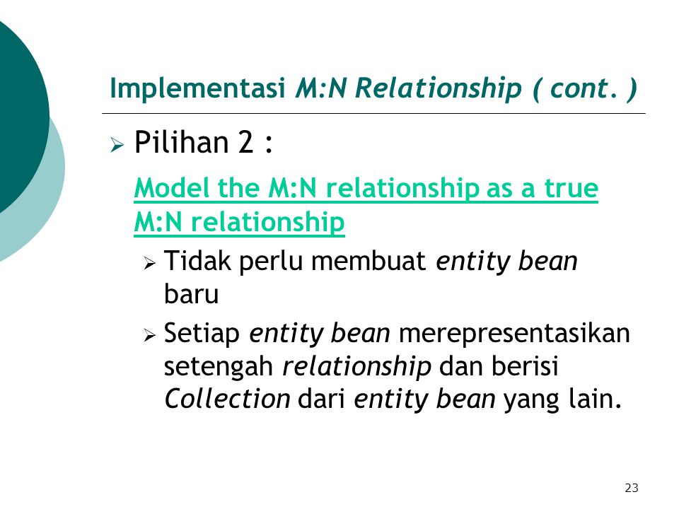 23 Implementasi M:N Relationship ( cont.