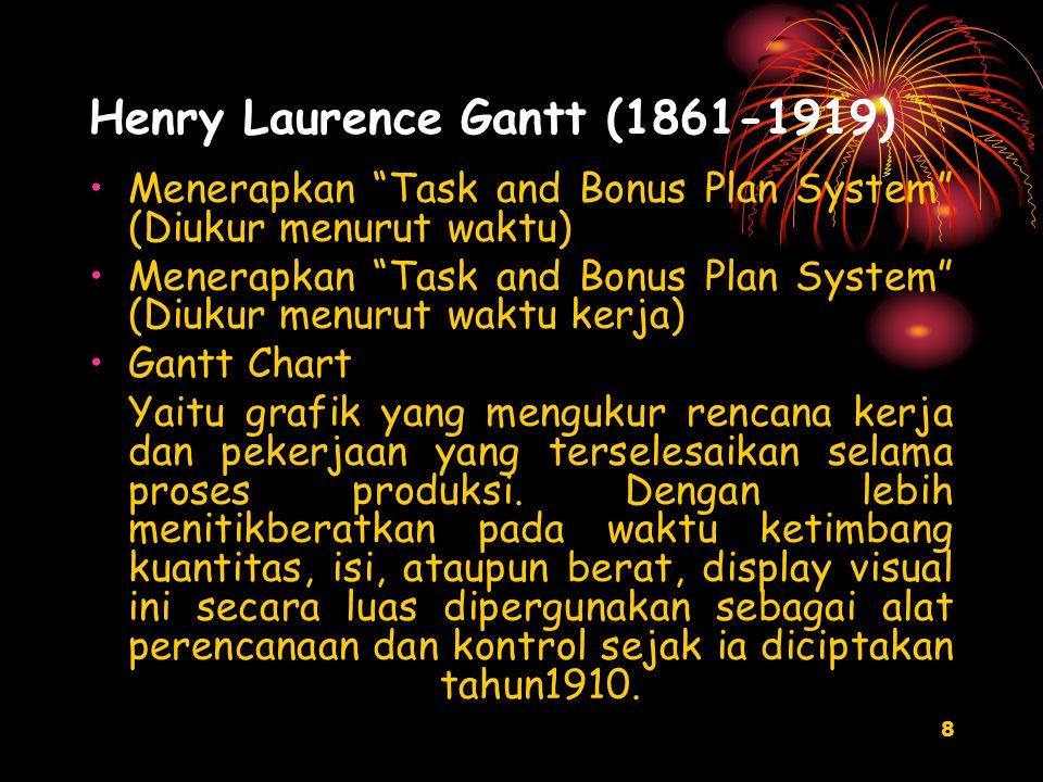 8 Henry Laurence Gantt (1861-1919) Menerapkan Task and Bonus Plan System (Diukur menurut waktu) Menerapkan Task and Bonus Plan System (Diukur menurut waktu kerja) Gantt Chart Yaitu grafik yang mengukur rencana kerja dan pekerjaan yang terselesaikan selama proses produksi.