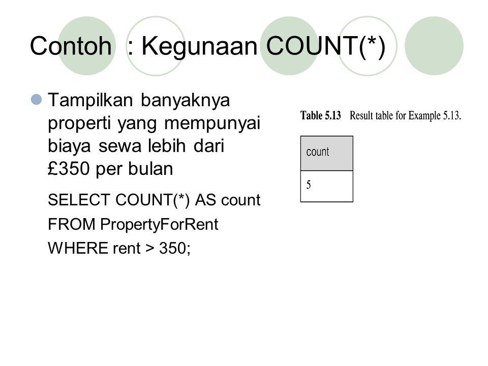 Contoh: Kegunaan COUNT(*) Tampilkan banyaknya properti yang mempunyai biaya sewa lebih dari £350 per bulan SELECT COUNT(*) AS count FROM PropertyForRe