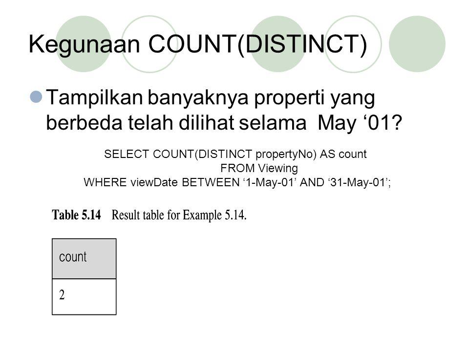 Kegunaan COUNT(DISTINCT) Tampilkan banyaknya properti yang berbeda telah dilihat selama May '01? SELECT COUNT(DISTINCT propertyNo) AS count FROM Viewi