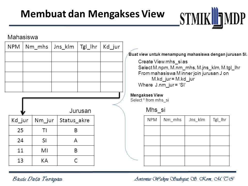 Basis Data Terapan Antonius Wahyu Sudrajat, S.