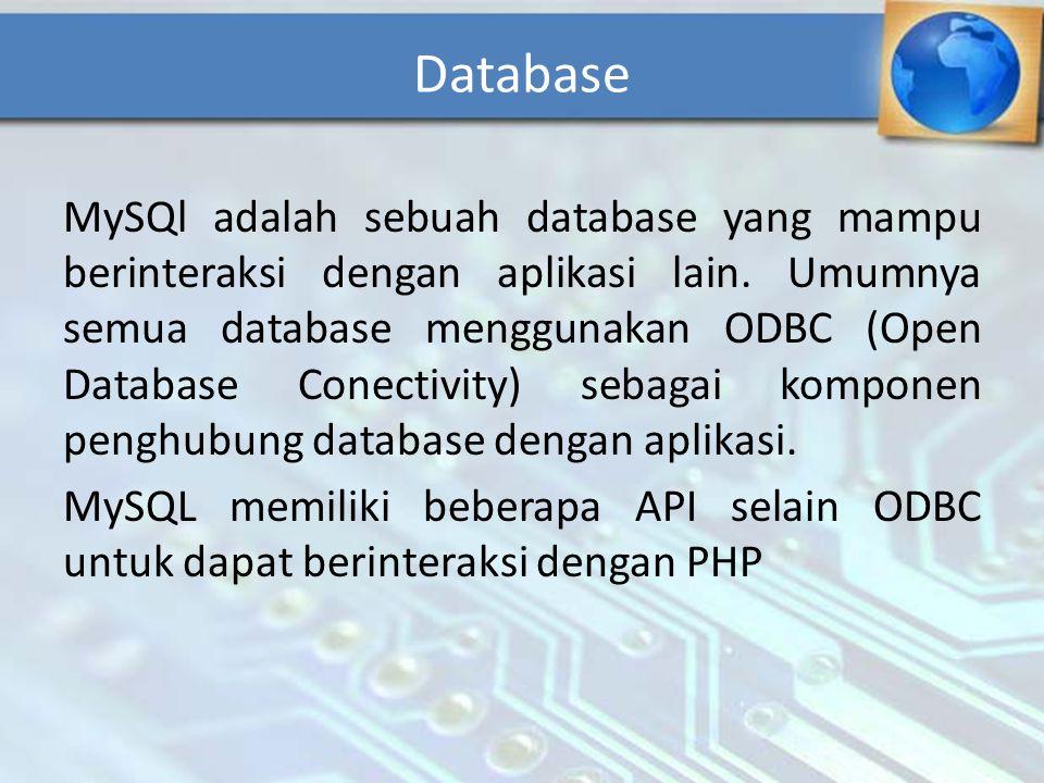 Database MySQl adalah sebuah database yang mampu berinteraksi dengan aplikasi lain. Umumnya semua database menggunakan ODBC (Open Database Conectivity