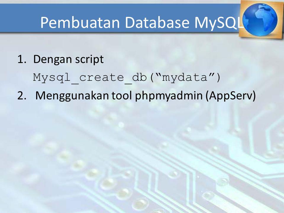 "Pembuatan Database MySQL 1.Dengan script Mysql_create_db(""mydata"") 2. Menggunakan tool phpmyadmin (AppServ)"