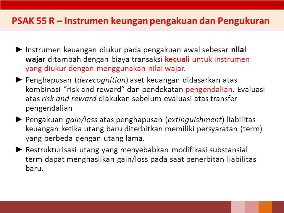 ► Instrumen keuangan diukur pada pengakuan awal sebesar nilai wajar ditambah dengan biaya transaksi kecuali untuk instrumen yang diukur dengan menggun