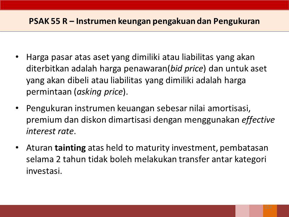 Harga pasar atas aset yang dimiliki atau liabilitas yang akan diterbitkan adalah harga penawaran(bid price) dan untuk aset yang akan dibeli atau liabi