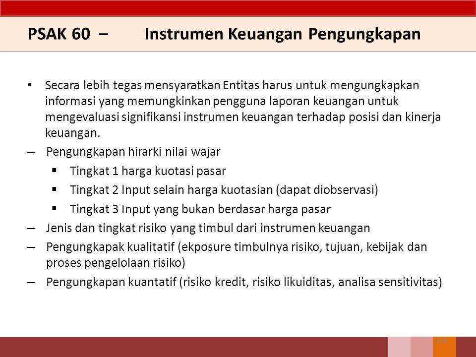 PSAK 60 – Instrumen Keuangan Pengungkapan Secara lebih tegas mensyaratkan Entitas harus untuk mengungkapkan informasi yang memungkinkan pengguna lapor