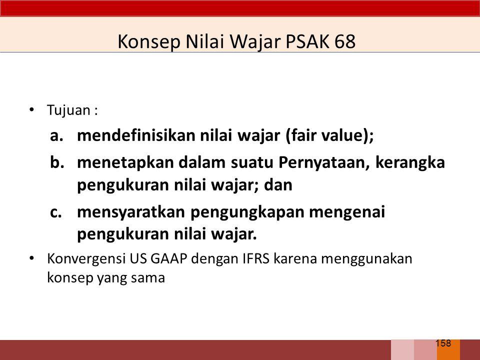 Konsep Nilai Wajar PSAK 68 Tujuan : a.mendefinisikan nilai wajar (fair value); b.menetapkan dalam suatu Pernyataan, kerangka pengukuran nilai wajar; d
