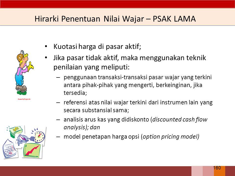 Hirarki Penentuan Nilai Wajar – PSAK LAMA Kuotasi harga di pasar aktif; Jika pasar tidak aktif, maka menggunakan teknik penilaian yang meliputi: – pen