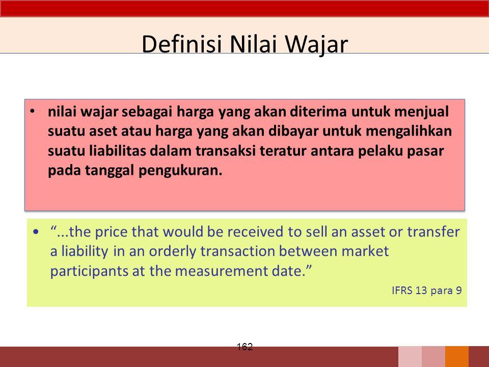 Definisi Nilai Wajar nilai wajar sebagai harga yang akan diterima untuk menjual suatu aset atau harga yang akan dibayar untuk mengalihkan suatu liabil