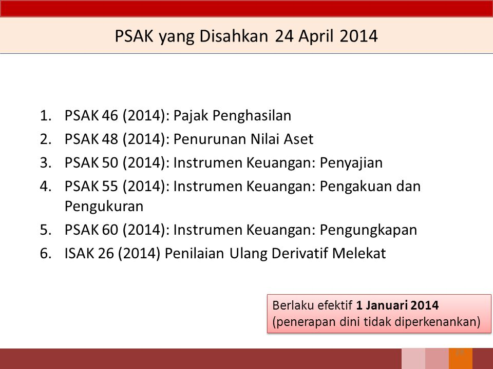 PSAK yang Disahkan 24 April 2014 1.PSAK 46 (2014): Pajak Penghasilan 2.PSAK 48 (2014): Penurunan Nilai Aset 3.PSAK 50 (2014): Instrumen Keuangan: Peny