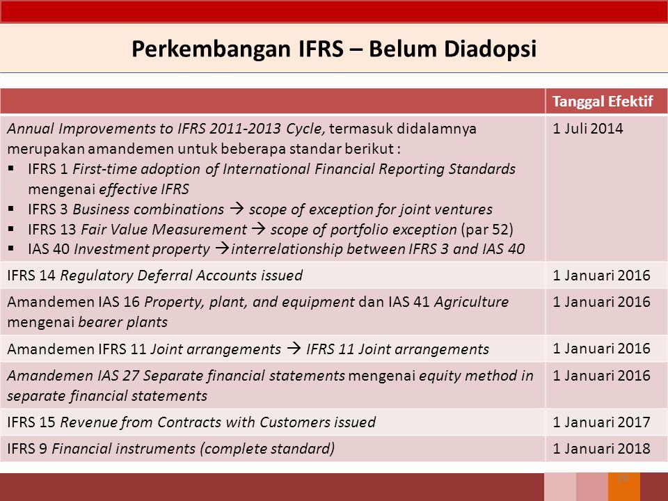 Perkembangan IFRS – Belum Diadopsi 28 Tanggal Efektif Annual Improvements to IFRS 2011-2013 Cycle, termasuk didalamnya merupakan amandemen untuk beber