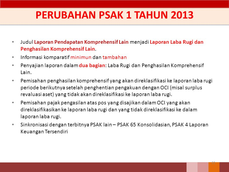 PERUBAHAN PSAK 1 TAHUN 2013 Judul Laporan Pendapatan Komprehensif Lain menjadi Laporan Laba Rugi dan Penghasilan Komprehensif Lain. Informasi komparat