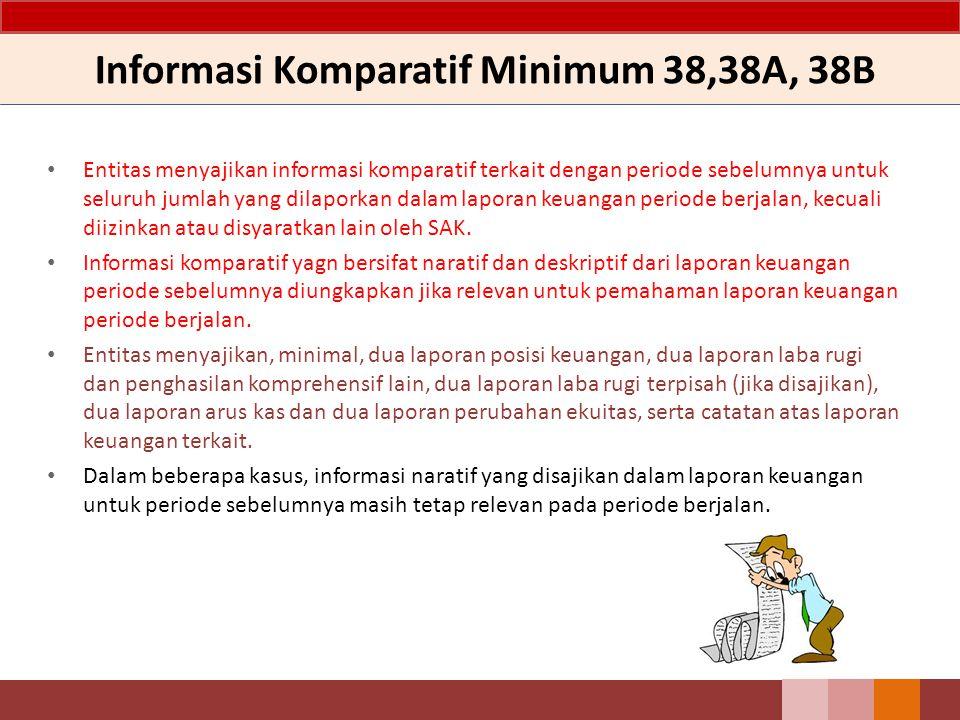 Informasi Komparatif Minimum 38,38A, 38B Entitas menyajikan informasi komparatif terkait dengan periode sebelumnya untuk seluruh jumlah yang dilaporka
