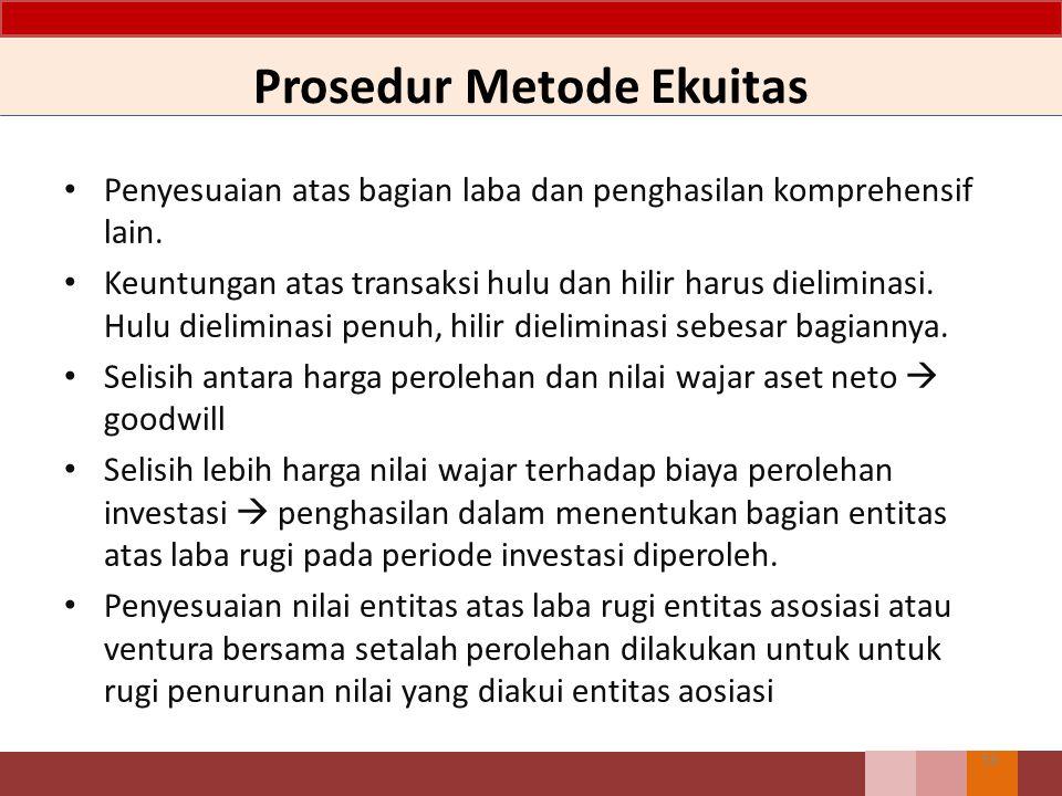 Prosedur Metode Ekuitas 56 Penyesuaian atas bagian laba dan penghasilan komprehensif lain. Keuntungan atas transaksi hulu dan hilir harus dieliminasi.