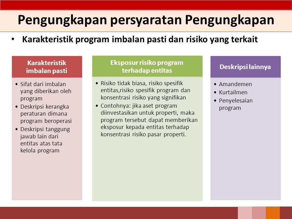 Pengungkapan persyaratan Pengungkapan Karakteristik program imbalan pasti dan risiko yang terkait 71 Karakteristik imbalan pasti Sifat dari imbalan ya