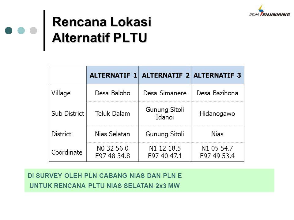 Rencana Lokasi Alternatif PLTU DI SURVEY OLEH PLN CABANG NIAS DAN PLN E UNTUK RENCANA PLTU NIAS SELATAN 2x3 MW ALTERNATIF 1 ALTERNATIF 2ALTERNATIF 3 V