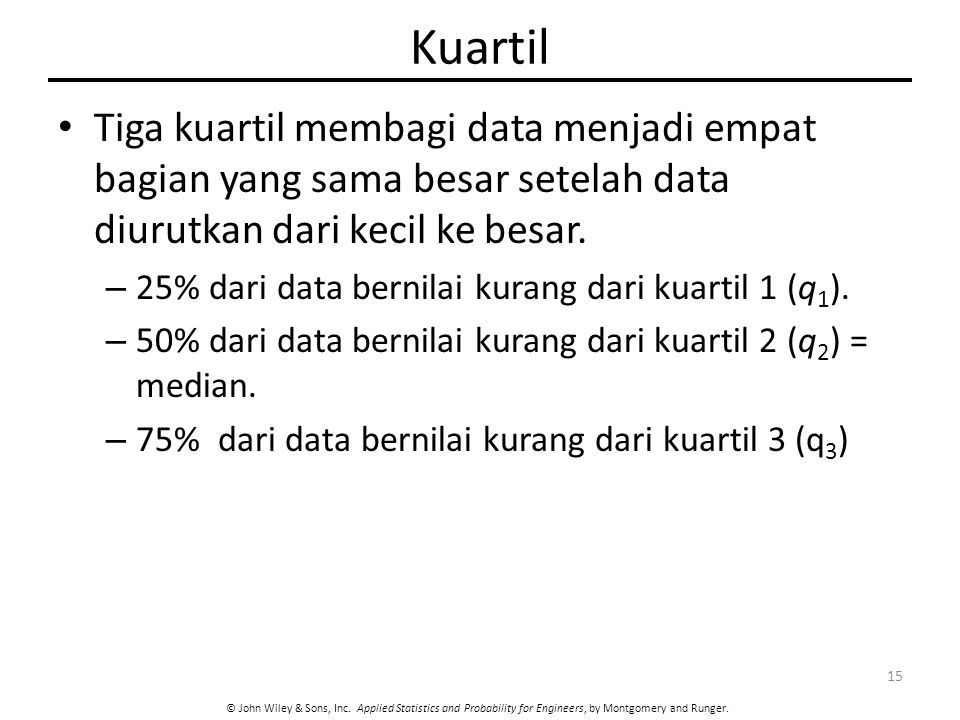 © John Wiley & Sons, Inc. Applied Statistics and Probability for Engineers, by Montgomery and Runger. Kuartil Tiga kuartil membagi data menjadi empat