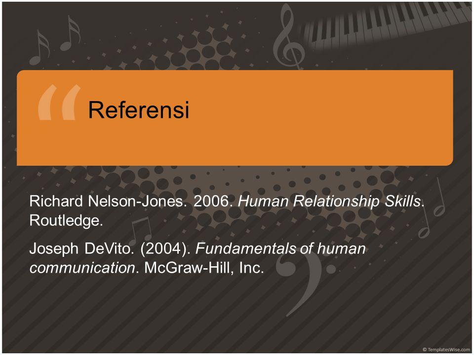 Referensi Richard Nelson-Jones.2006. Human Relationship Skills.