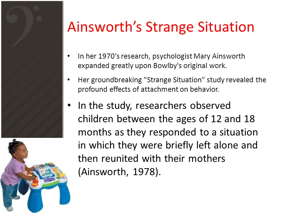 Ainsworth's Strange Situation In her 1970's research, psychologist Mary Ainsworth expanded greatly upon Bowlby's original work. Her groundbreaking