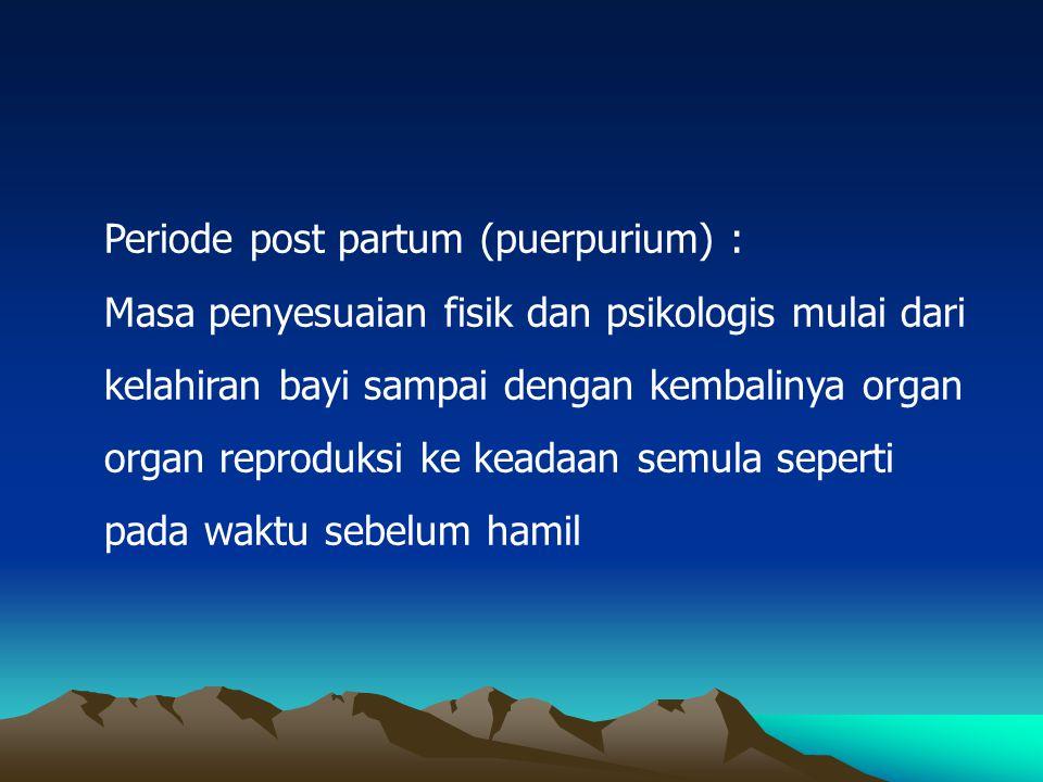 Periode post partum (puerpurium) : Masa penyesuaian fisik dan psikologis mulai dari kelahiran bayi sampai dengan kembalinya organ organ reproduksi ke