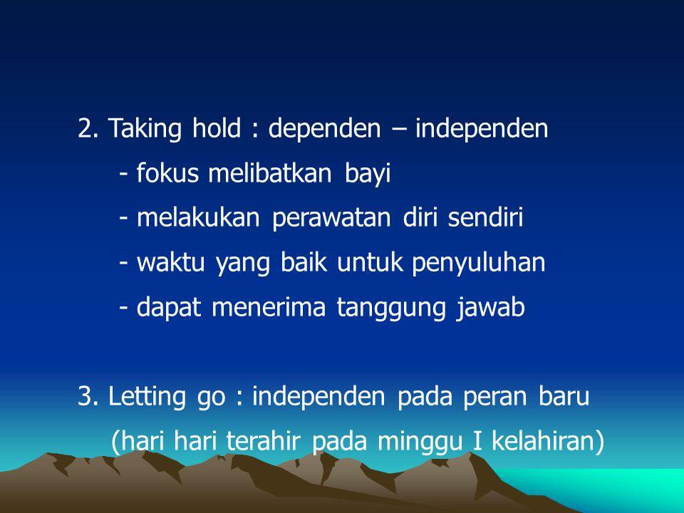 2. Taking hold : dependen – independen - fokus melibatkan bayi - melakukan perawatan diri sendiri - waktu yang baik untuk penyuluhan - dapat menerima