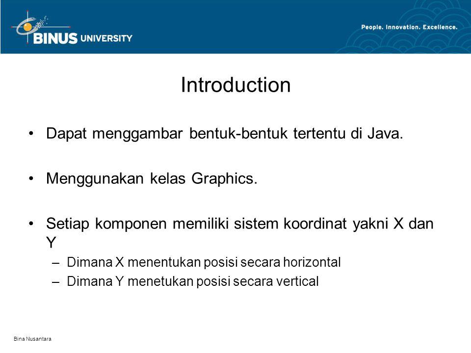 Introduction Dapat menggambar bentuk-bentuk tertentu di Java.
