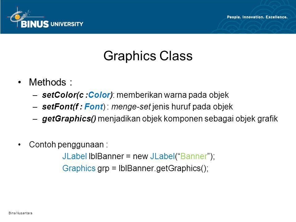 Graphics Class Methods : –setColor(c :Color): memberikan warna pada objek –setFont(f : Font): menge-set jenis huruf pada objek –getGraphics() menjadikan objek komponen sebagai objek grafik Contoh penggunaan : JLabel lblBanner = new JLabel( Banner ); Graphics grp = lblBanner.getGraphics(); Bina Nusantara